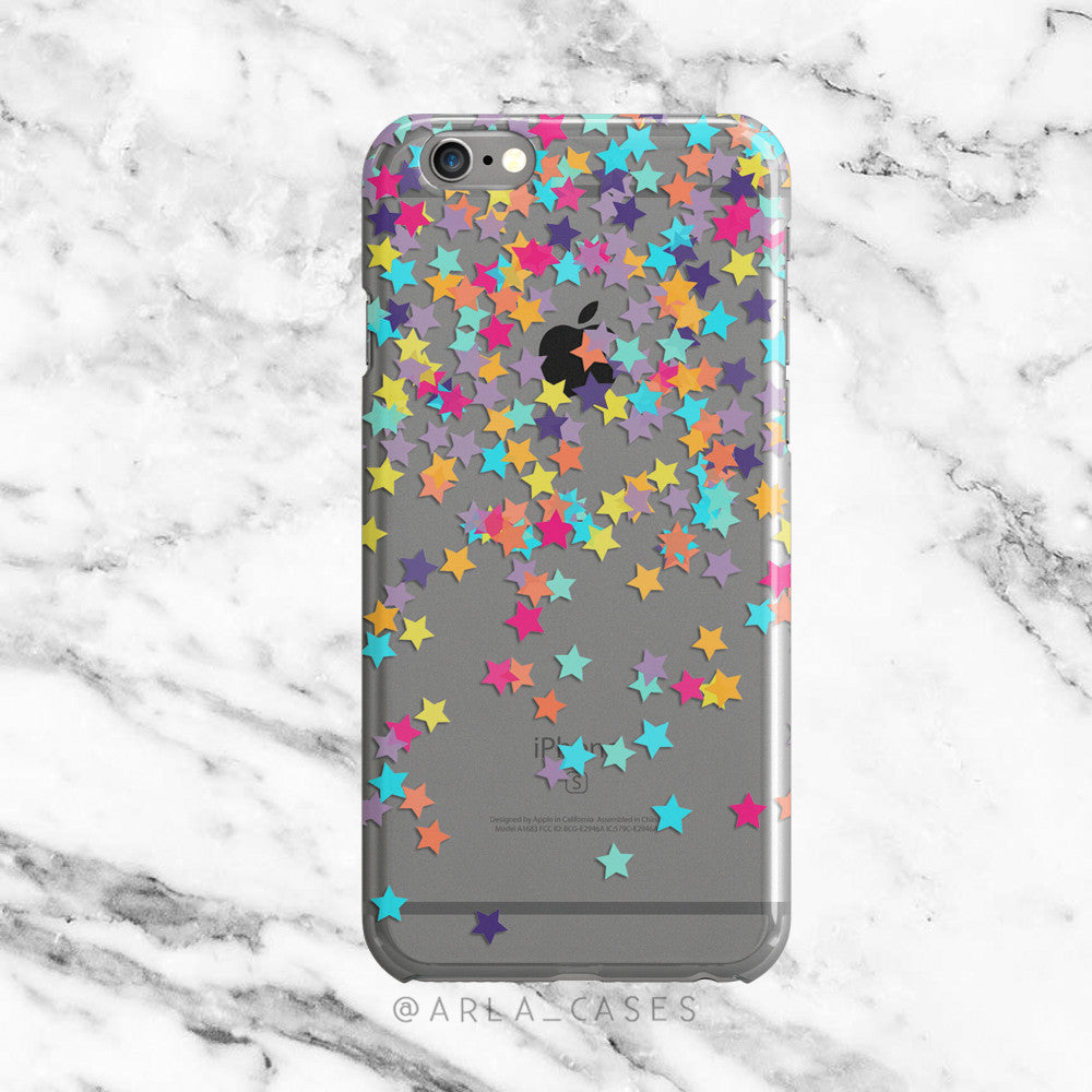 Rainbow Stars Confetti on Clear Printed iPhone Case