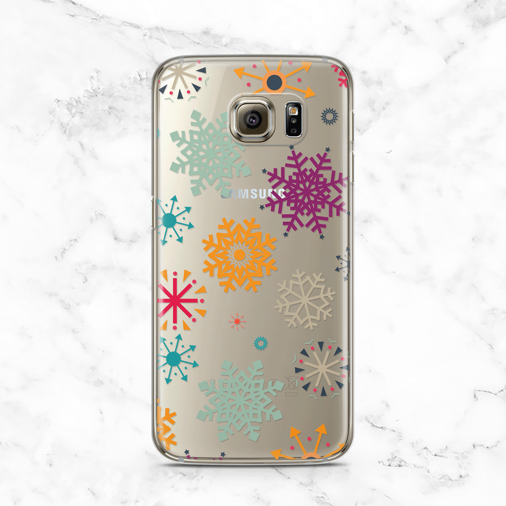 Festive Snowflake Pattern iPhone and Galaxy Phone Case - Clear TPU with Design