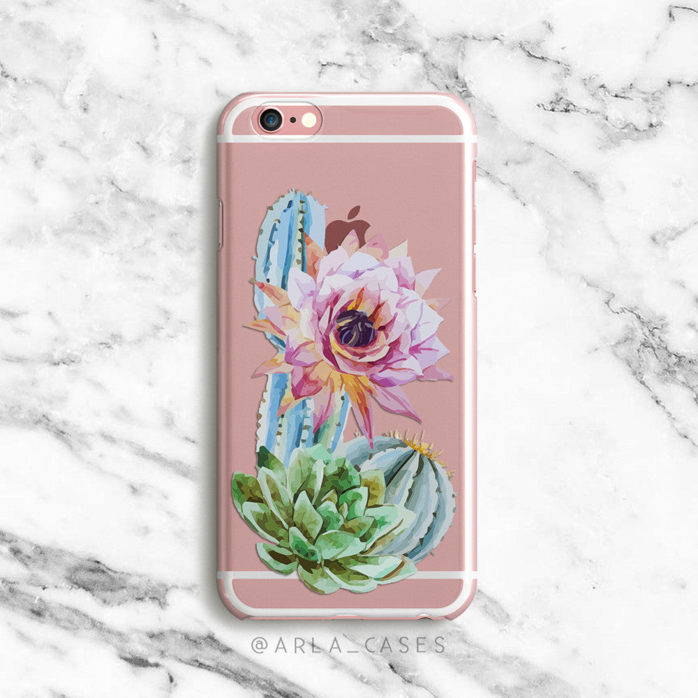 Flowering Cactus on Clear Printed iPhone Case