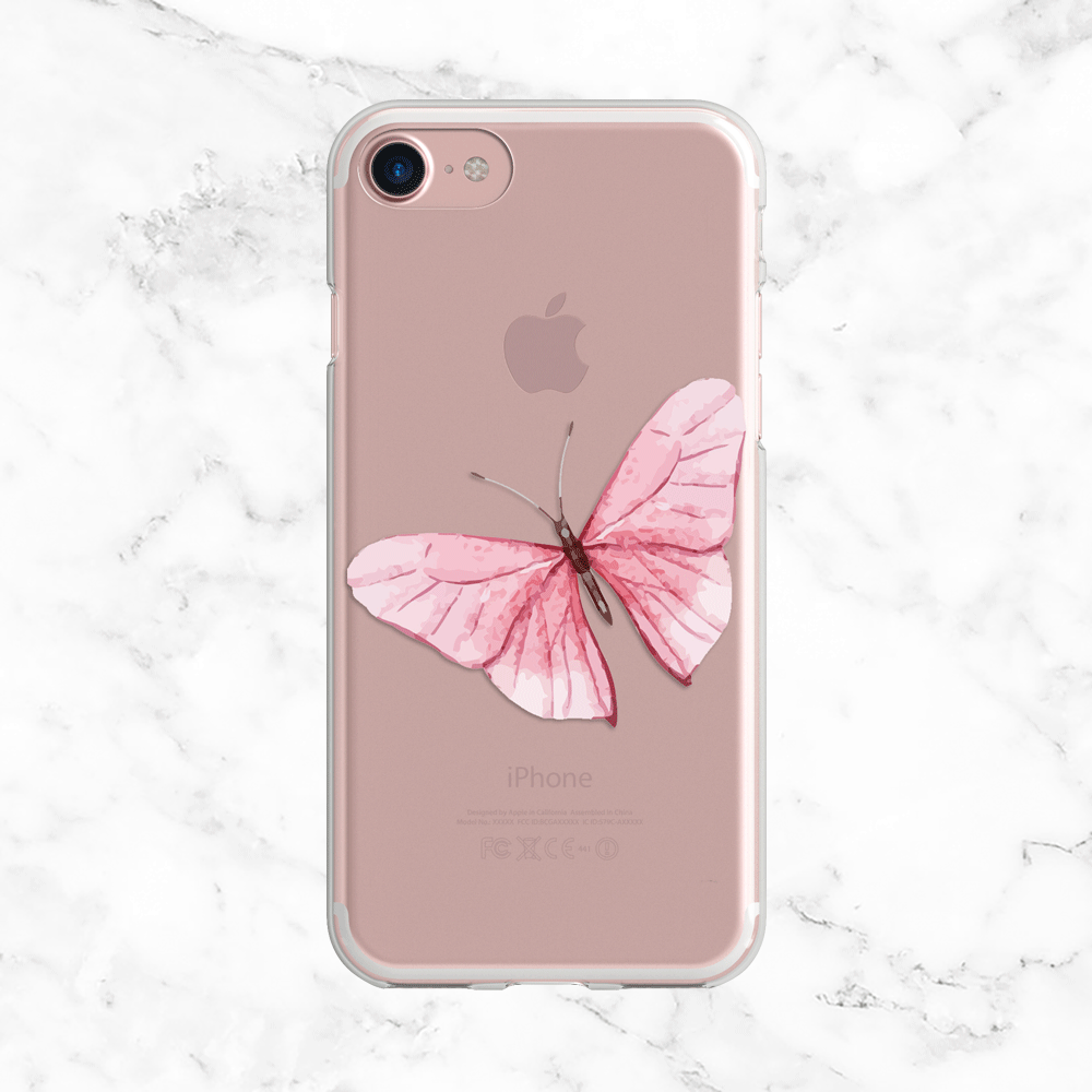 Pink Watercolor Butterly Phone Case - Clear TPU Phone Case with Design