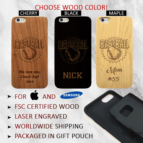 Custom Baseball Wood Phone Case