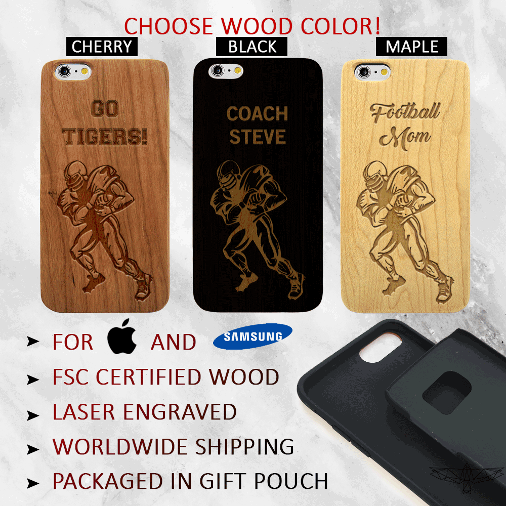 Custom Football Player - Wood iPhone and Galaxy Case