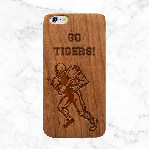 Personalized Football Player Wood Phone Case