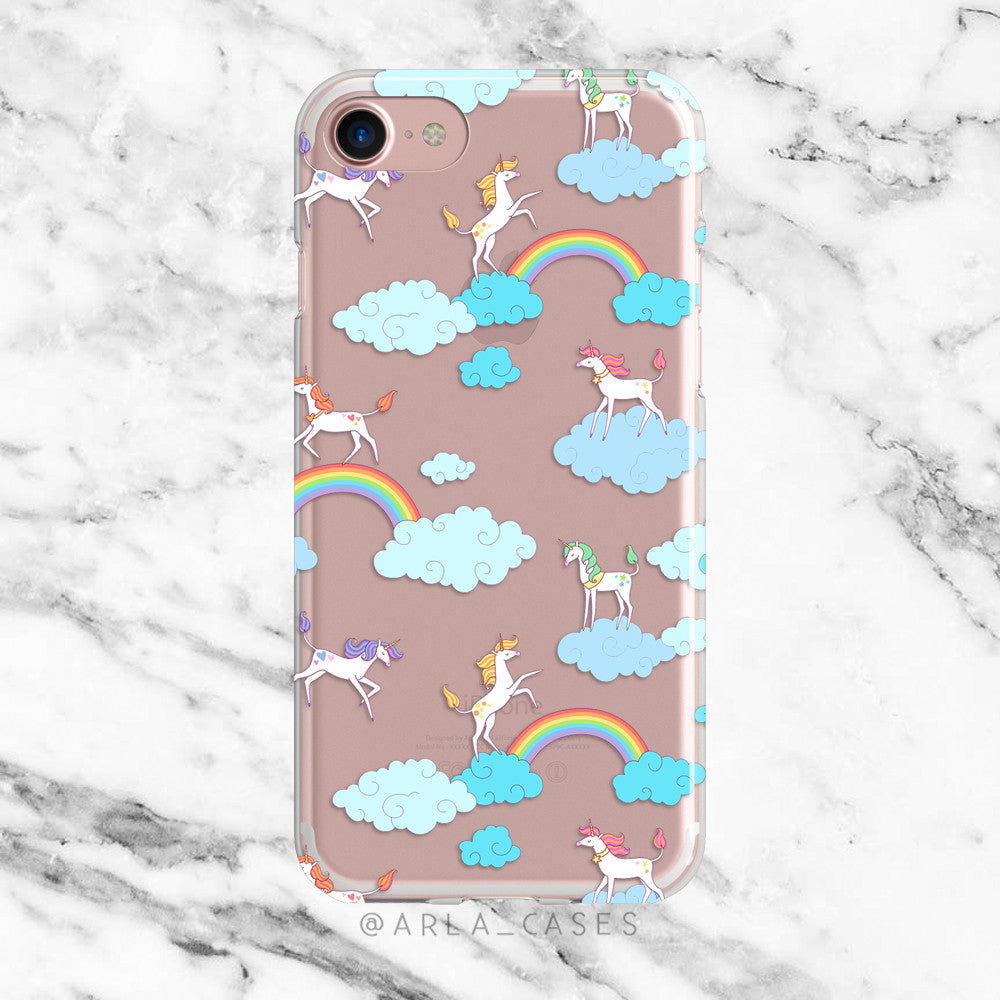 Rainbows and Unicorns on Clear Printed iPhone Case
