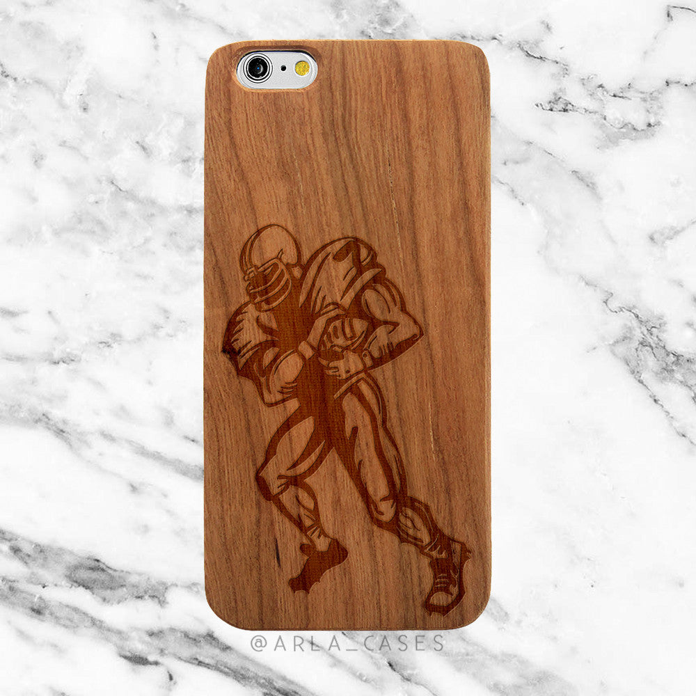 Football Player on Wood iPhone Case