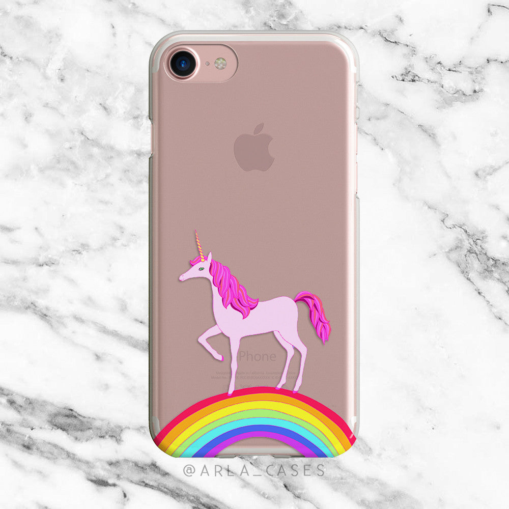 Unicorn Rainbow on Clear Printed iPhone Case