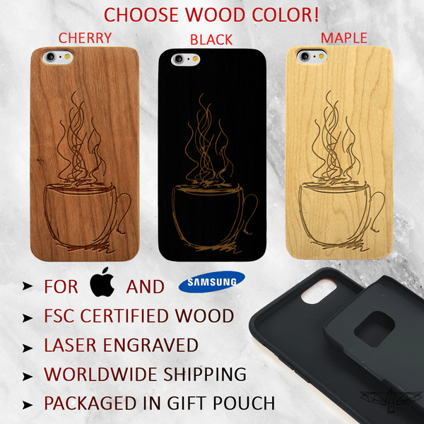 Tea / Coffee Mug Doodle -Tea / Coffee Wood Phone Case -  Wood iPhone / Galaxy Case