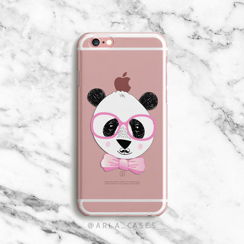 Panda on Clear Printed iPhone Case