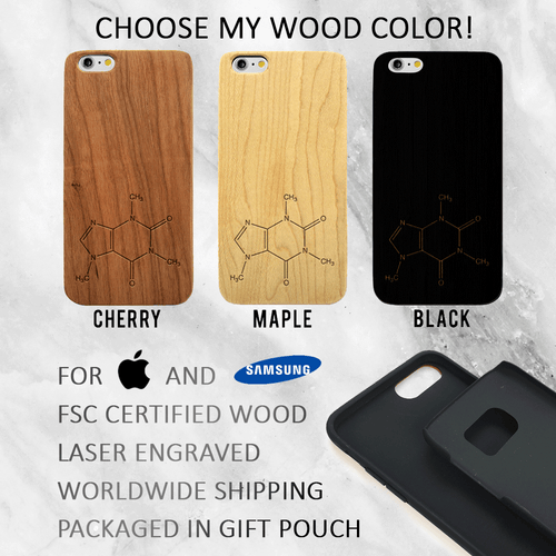 Coffee - Caffeine Chemical Compound Wood Phone Case -  Wood iPhone / Galaxy Case