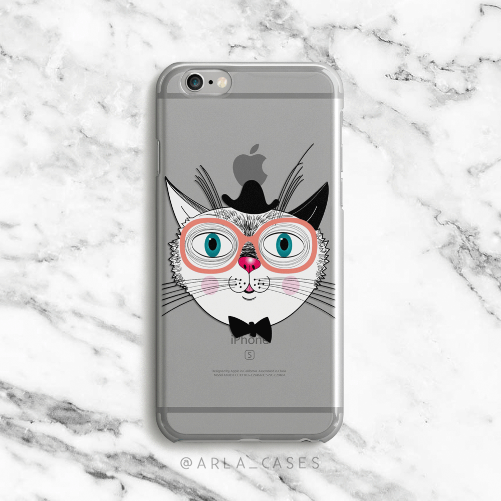 Hipster Cat iPhone and Galaxy Phone Case