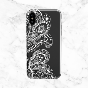 White Floral Paisley - Clear TPU Case