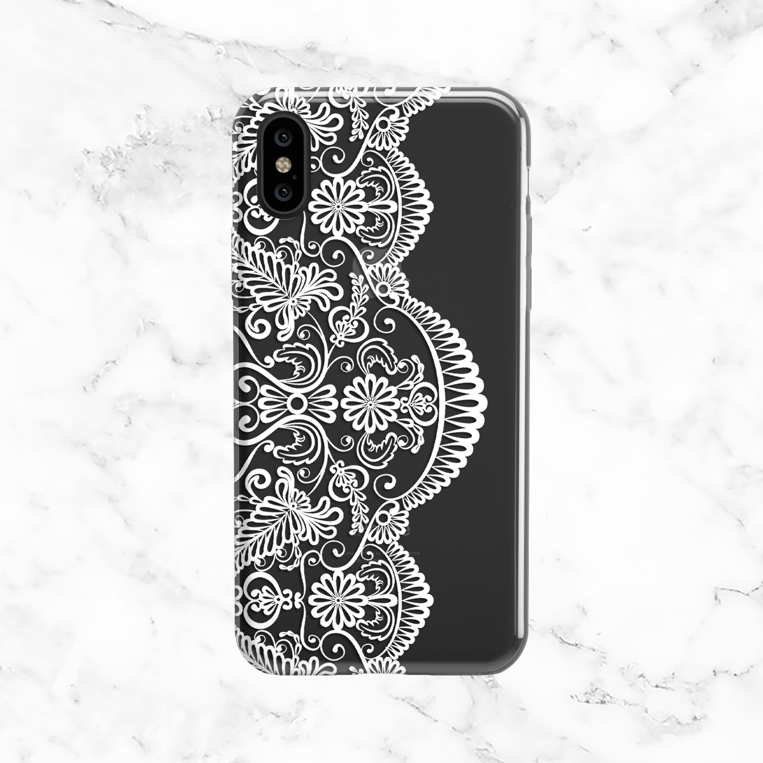 White Vintage Lace Phone Case - Clear Printed TPU