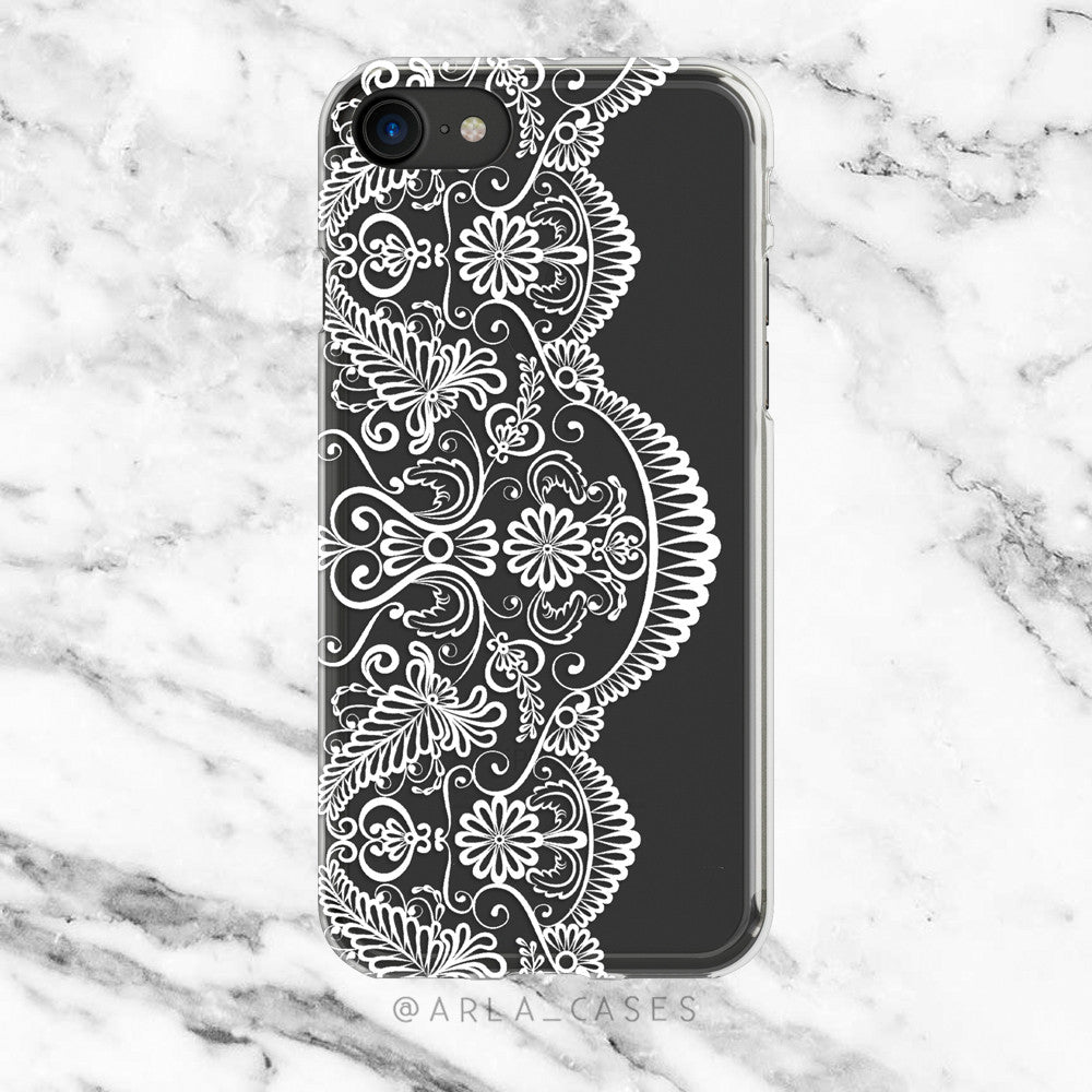 White Vintage Lace on Clear Printed iPhone Case