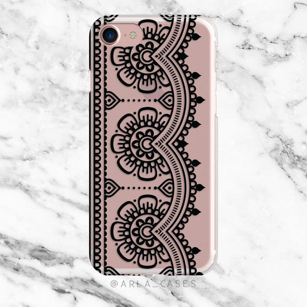 Black Henna Lace on Clear Printed iPhone Case