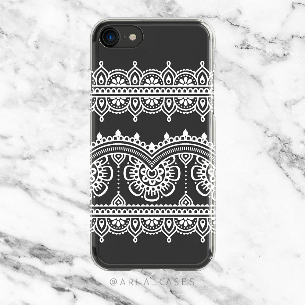 White Henna Lace on Clear Printed iPhone Case