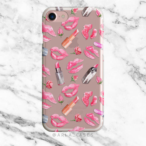 Lipstick Kisses on Clear Printed iPhone Case