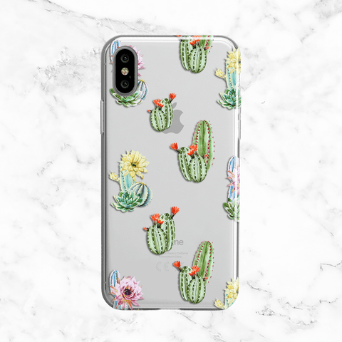 Watercolor Desert Deer Skull with Flowers - Clear Printed TPU Phone Case