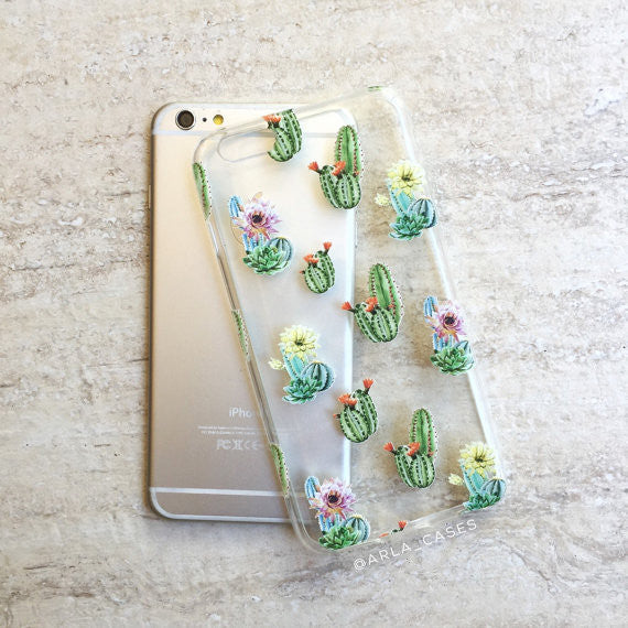 Watercolor Cactus Flowers on Clear Printed iPhone Case