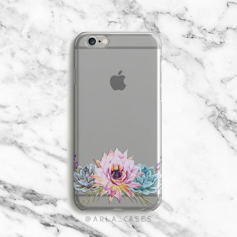 Blooming Pink Floral Succulent on Clear Printed iPhone Case