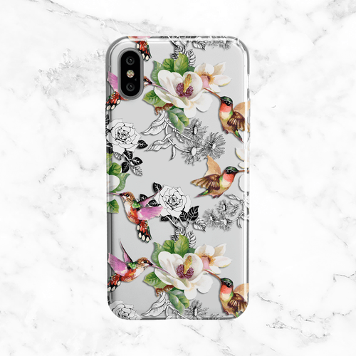 Hummingbirds and Magnolias - Watercolor Illustration on Clear Printed TPU Phone Case