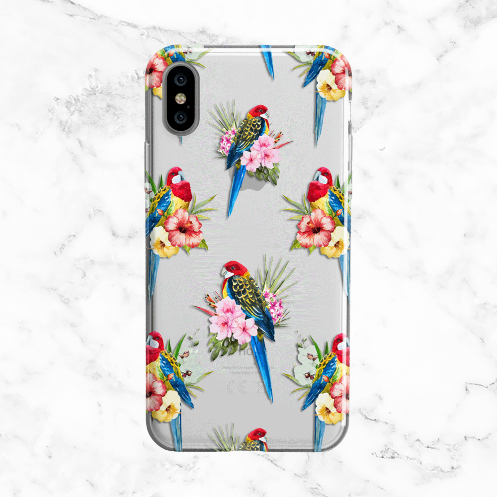 Tropical Florals and Parrot Design - Clear TPU Phone Case Cover