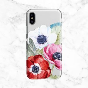 Watercolor Anemone and Poppy Flowers - Floral Clear TPU Phone Case