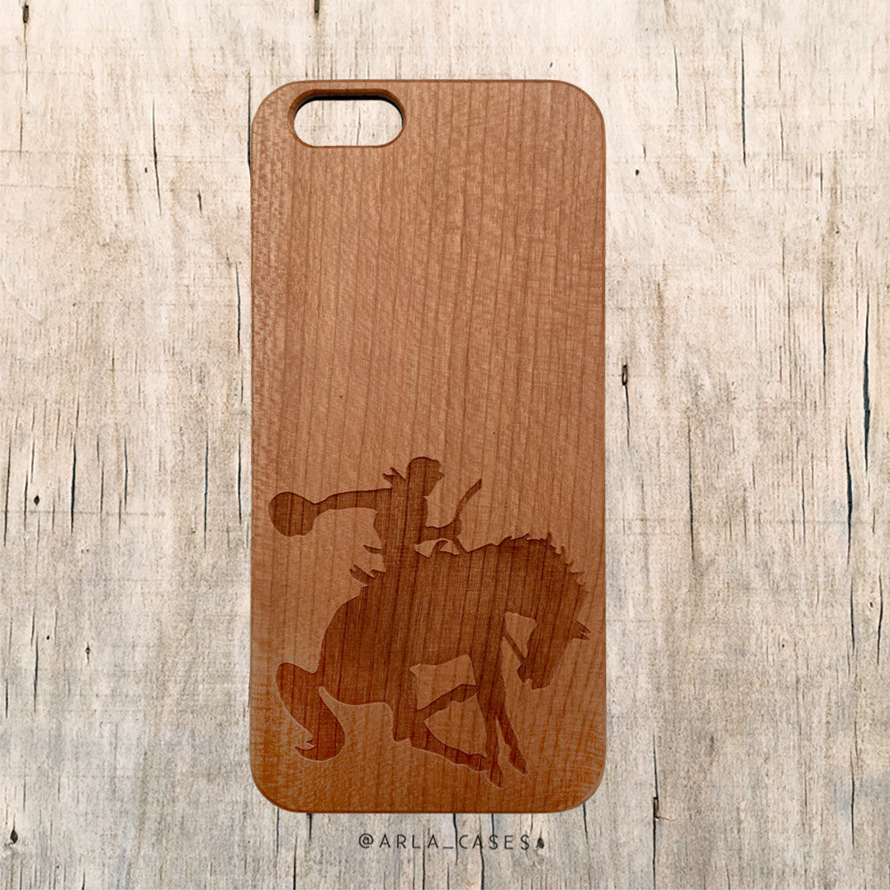 Rodeo Cowboy Horseback Rider Wooden Phone Case