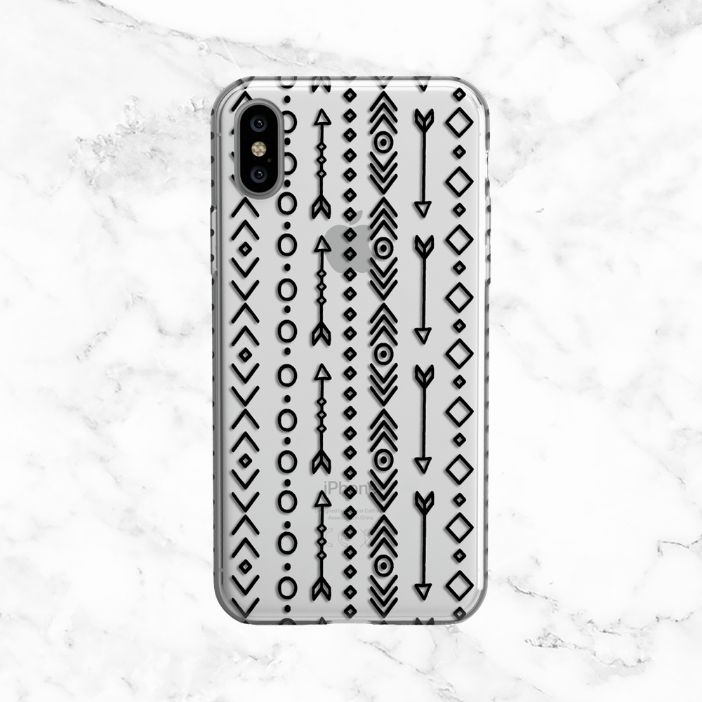 Hipster Arrows and Tribal Pattern - Clear TPU Phone Case