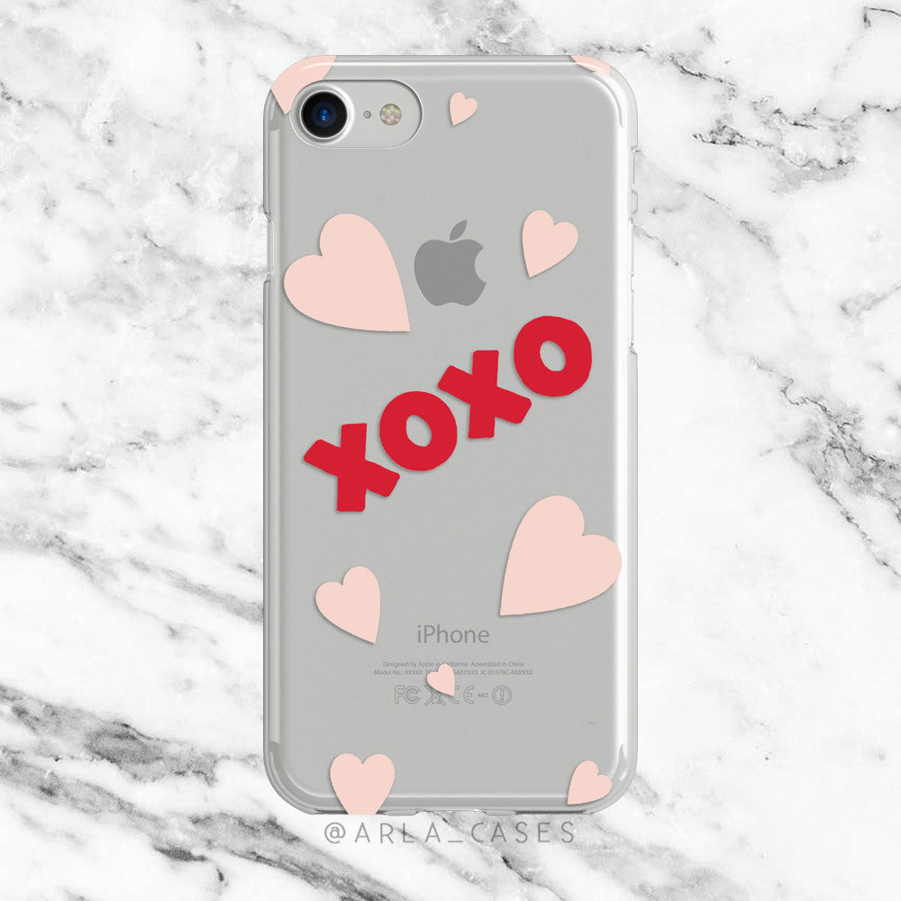 XOXO on Clear Printed iPhone Case
