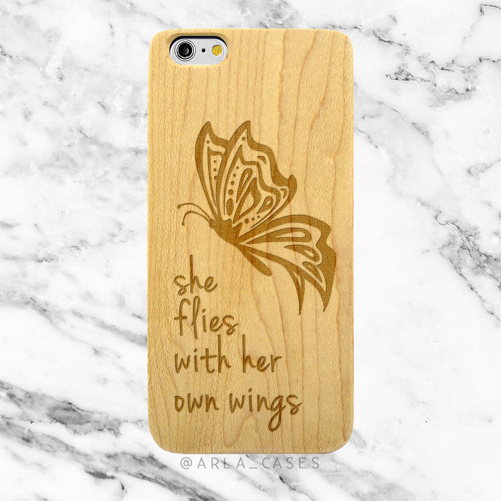 Butterfly Quote on Wood iPhone Case