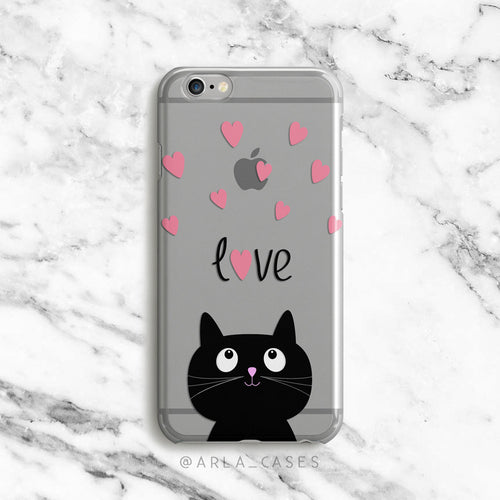 Love Kitty on Clear Printed iPhone Case