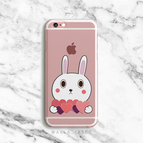 Valentine Bunny on Clear Printed iPhone Case