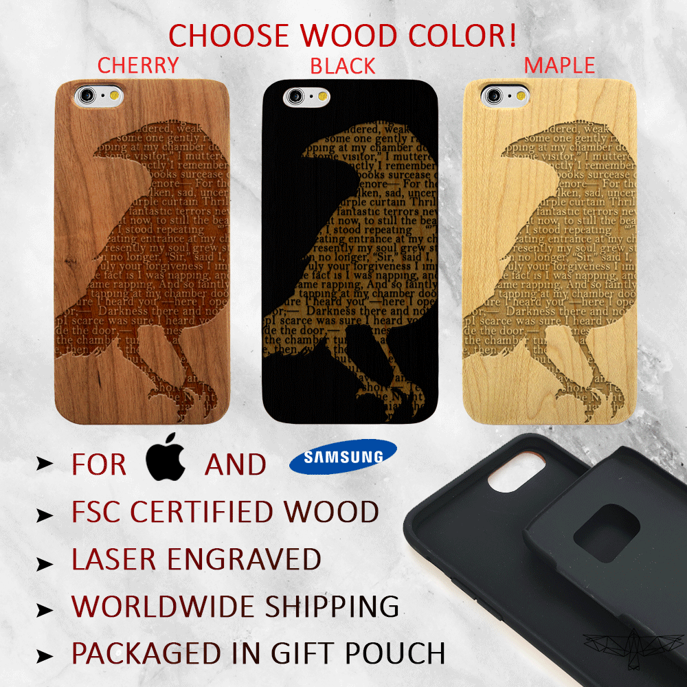 The Raven - Wood Phone Case