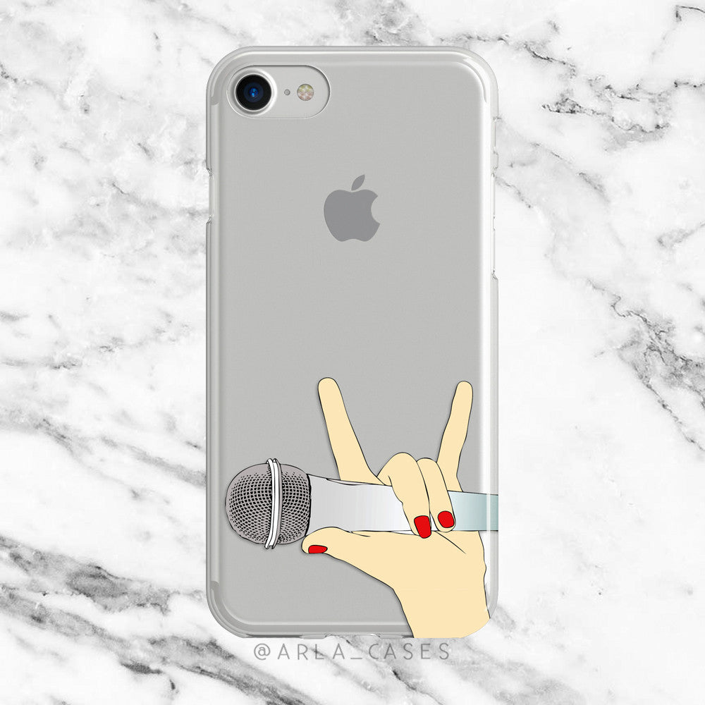 Rock Star on Clear Printed iPhone Case
