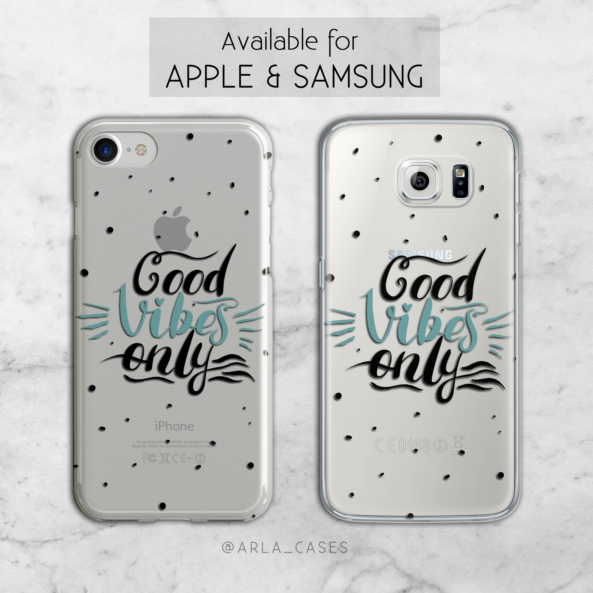 Good Vibes Only - Clear TPU Print iPhone and Galaxy Case
