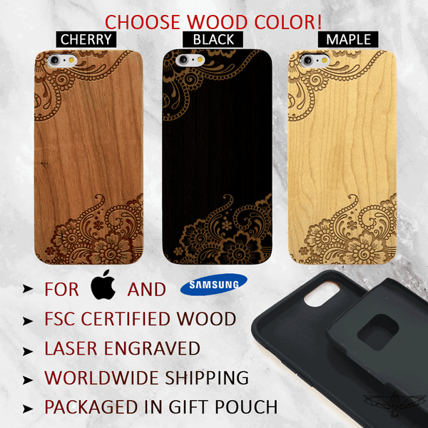 Custom Floral Lace Name Wood Phone Case