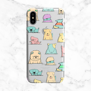 Pastel Puppies - Clear Printed Animal Phone Case
