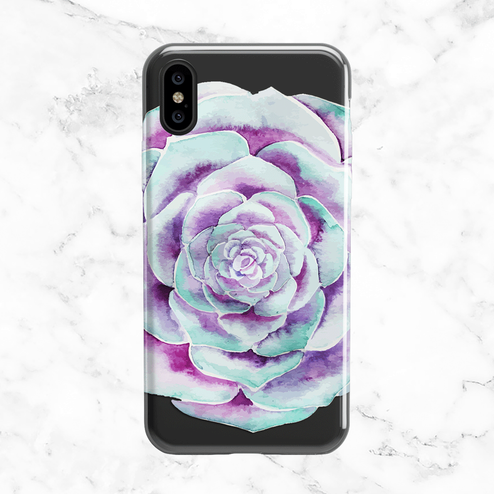 Watercolor Succulent Flower - Clear Printed Desert Flower Phone Case