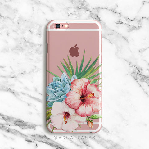 Watercolor Hibiscus on Clear Printed iPhone Case
