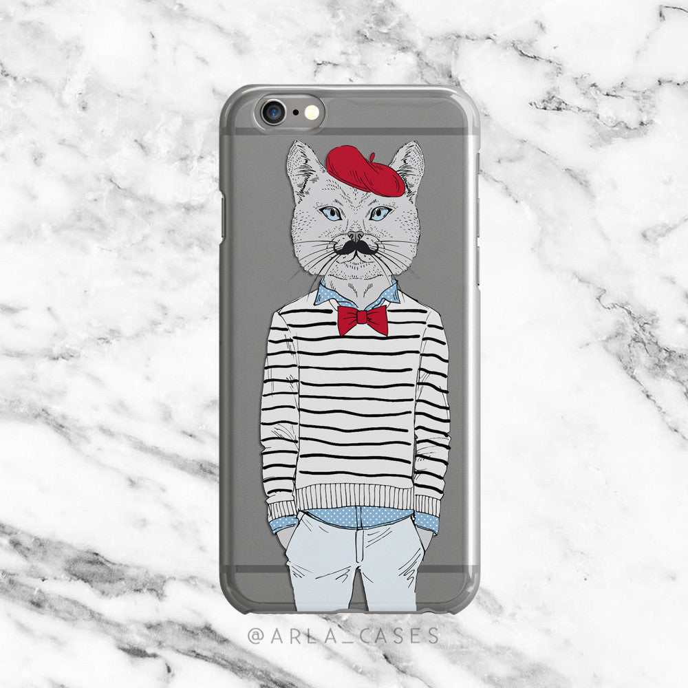 Fancy Cat on Clear Printed iPhone Case