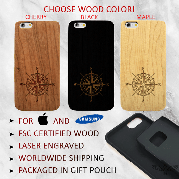 Traveler's Compass Wood Phone Case