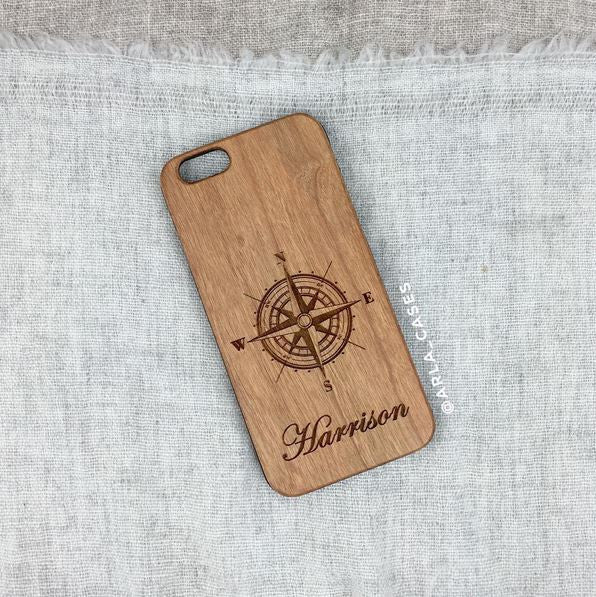 Custom Compass Name Wood iPhone Case