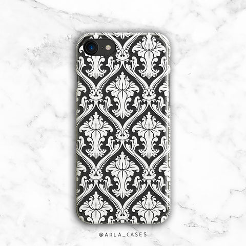 White Damask Clear Phone Case