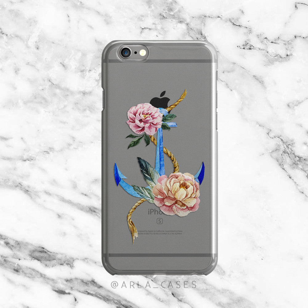 Floral Anchor on Clear Printed iPhone Case