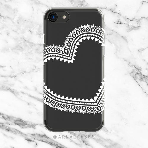 White Moroccan Lace Heart on Clear printed iPhone Case