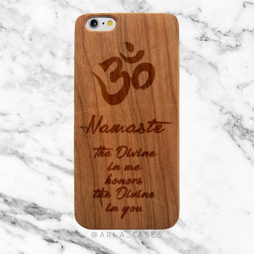 Namaste Quote on Wood iPhone Case