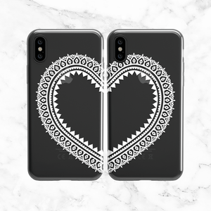 White Heart Lace Phone Case Set