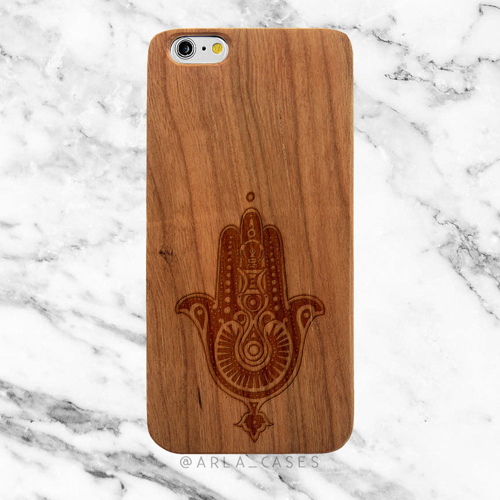 Hamsa Hand on Wood iPhone Case