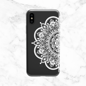 Ornate White Mandala - Henna Tattoo Style - Clear TPU Case