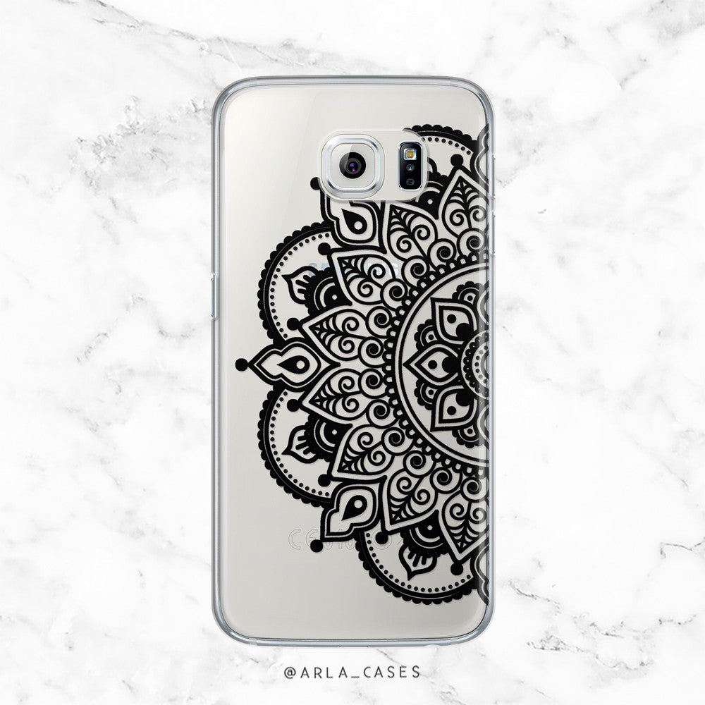 Ornate Black Mandala - Henna Tattoo Style - Clear TPU Case